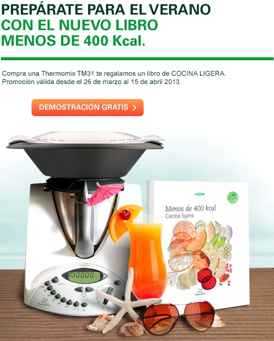 Nueva promoción: ¡libro cocina ligera menos de 400 calorías gratis al comprar tu Thermomix®
