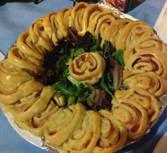 Corona rellena de jamon y queso hecha con Thermomix®