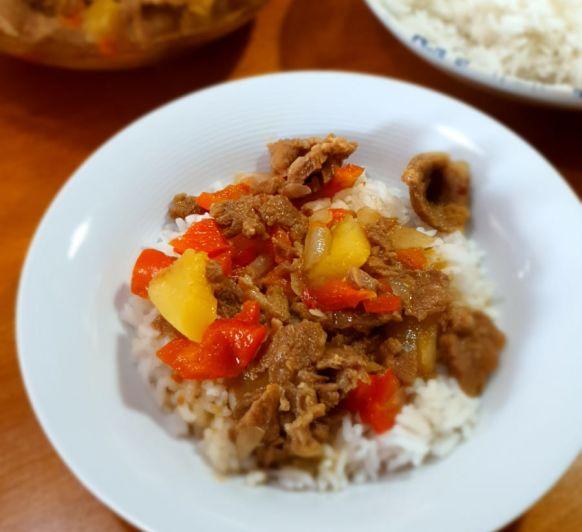 Cerdo agridulce y arroz blanco al vapor con Thermomix®